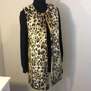 Chico's 0 Faux Fur Leopard Print Long Vest, Lined